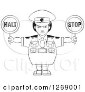 Clipart Of A Black And White Chubby Police Woman Holding Stop Signs Royalty Free Vector Illustration by Lal Perera