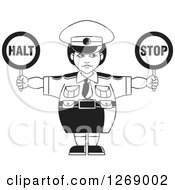 Clipart Of A Black And White Chubby Police Woman Holding Stop Signs 2 Royalty Free Vector Illustration by Lal Perera