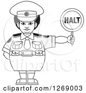 Clipart Of A Chubby Grayscale Police Woman Holding A Halt Sign Royalty Free Vector Illustration