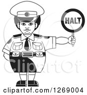 Clipart Of A Chubby Black And White Police Woman Holding A Halt Sign 2 Royalty Free Vector Illustration by Lal Perera