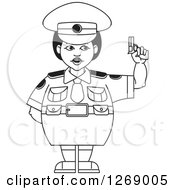 Clipart Of A Black And White Chubby Police Woman In A Skirt Holding A Pistol Royalty Free Vector Illustration by Lal Perera