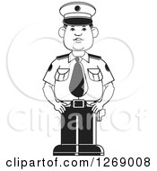 Clipart Of A Black And White Police Man Standing In Uniform 2 Royalty Free Vector Illustration by Lal Perera