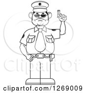 Clipart Of A Black And White Police Man Holding A Firearm Royalty Free Vector Illustration by Lal Perera