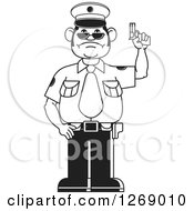 Clipart Of A Black And White Police Man Holding A Firearm 2 Royalty Free Vector Illustration by Lal Perera
