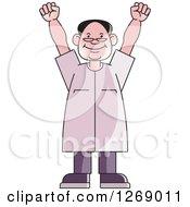Clipart Of A Senior Man Cheering Royalty Free Vector Illustration by Lal Perera