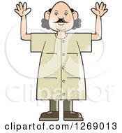 Senior Man Holding Up Both Hands