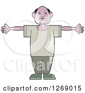Clipart Of A Senior Man Holding His Arms Out Royalty Free Vector Illustration by Lal Perera
