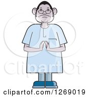 Clipart Of A Senior Man Holding His Hands Together Royalty Free Vector Illustration by Lal Perera