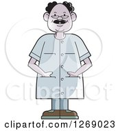 Clipart Of A Senior Man Wearing Eye Glasses And Standing With His Hands In Pockets Royalty Free Vector Illustration by Lal Perera