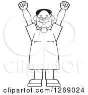 Clipart Of A Black And White Senior Man Cheering Royalty Free Vector Illustration