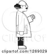 Clipart Of A Black And White Senior Man Cheering Holding Books In Profile Royalty Free Vector Illustration