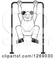 Clipart Of A Black And White Senior Man Exercising On A Bar Royalty Free Vector Illustration by Lal Perera