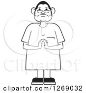 Clipart Of A Black And White Senior Man Holding His Hands Together Royalty Free Vector Illustration by Lal Perera