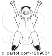 Clipart Of A Black And White Senior Man Sitting And Cheering Royalty Free Vector Illustration by Lal Perera