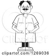Clipart Of A Black And White Senior Man Wearing Eye Glasses And Standing With His Hands In Pockets Royalty Free Vector Illustration by Lal Perera