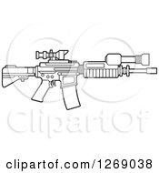 Clipart Of A Black And White Outlined Assault Rifle With A Scope Royalty Free Vector Illustration by Lal Perera