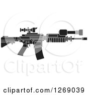 Clipart Of A Black And White Assault Rifle With A Scope Royalty Free Vector Illustration