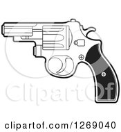 Clipart Of A Black And White Pistol Royalty Free Vector Illustration by Lal Perera