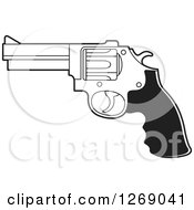 Clipart Of A Black And White Pistol Gun Royalty Free Vector Illustration by Lal Perera