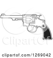 Clipart Of A Black And White Revolver Pistol Royalty Free Vector Illustration by Lal Perera