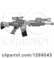 Clipart Of A Grayscale Assault Rifle With A Scope Royalty Free Vector Illustration by Lal Perera