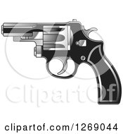 Clipart Of A Black And Silver Pistol Royalty Free Vector Illustration by Lal Perera
