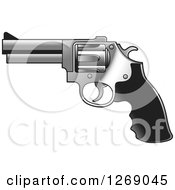 Clipart Of A Black And Silver Pistol Gun Royalty Free Vector Illustration by Lal Perera