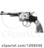 Clipart Of A Black And Silver Revolver Pistol Royalty Free Vector Illustration by Lal Perera