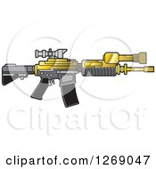 Clipart Of A Gold Gray And Black Assault Rifle With A Scope Royalty Free Vector Illustration by Lal Perera