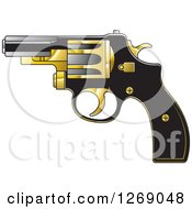 Clipart Of A Black Gold And Silver Pistol Royalty Free Vector Illustration by Lal Perera