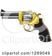 Clipart Of A Black Gold And Silver Pistol Gun Royalty Free Vector Illustration by Lal Perera