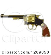 Clipart Of A Black Wood And Gold Revolver Pistol Royalty Free Vector Illustration by Lal Perera