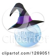 Clipart Of A 3d Witch Hat On A Happy Halloween Crystal Ball Royalty Free Vector Illustration by AtStockIllustration