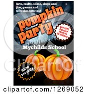 Clipart Of A Pumpkin Halloween Party Invitation Design For A Childrens School With Sample Text Royalty Free Vector Illustration