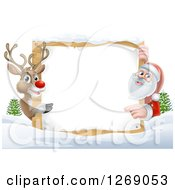 Clipart Of A Reindeer And Santa Pointing Around A Christmas Wood Sign In The Snow Royalty Free Vector Illustration