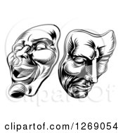 Clipart Of Black And White Woodcut Comedy And Tragedy Theater Masks Royalty Free Vector Illustration by AtStockIllustration