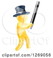 Clipart Of A 3d Gold Magician Man Holding Up A Magic Wand Royalty Free Vector Illustration