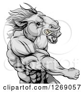 Clipart Of A Tough Angry Gray Muscular Horse Man Punching Royalty Free Vector Illustration by Geo Images
