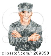 Clipart Of A Happy Caucasian Male Soldier In Camouflage With Folded Arms Royalty Free Vector Illustration by AtStockIllustration