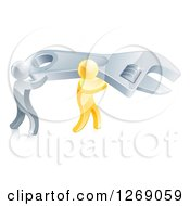 Clipart Of 3d Silver And Gold Men Carrying A Large Adjustable Wrench Royalty Free Vector Illustration