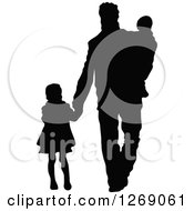 Black Silhouette Of A Daughter Holding Hands And Walking With Her Father And Baby Brother