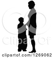 Clipart Of A Black Silhouette Of A Mother Standing With Her Son Royalty Free Vector Illustration by Pushkin