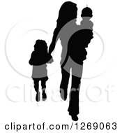 Clipart Of A Black Silhouette Of A Mother Carrying Her Son And Holding Hands With Her Daughter Royalty Free Vector Illustration by Pushkin