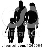 Clipart Of A Black Silhouette Of A Son Holding Hands And Walking With His Mother And Father Royalty Free Vector Illustration by Pushkin