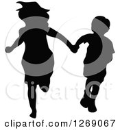 Clipart Of A Black Silhouette Of A Mother Or Big Sister Holding Hands With A Boy And Running Royalty Free Vector Illustration by Pushkin