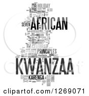 Clipart Of A Gray Kwanzaa Word Tag Collage On White Royalty Free Illustration