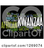 Clipart Of A Green White And Blue Kwanzaa Word Tag Collage On Black Royalty Free Illustration