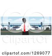 Clipart Of A Faceless Car Salesman In Front Of A Building Royalty Free Vector Illustration