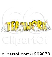 Clipart Of A Group Of Men Pushing Together Yellow TEAMWORK Text Royalty Free Vector Illustration