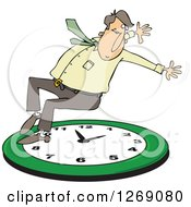 Clipart Of A Caucasian Businessman Falling Back On A Green Wall Clock Royalty Free Vector Illustration